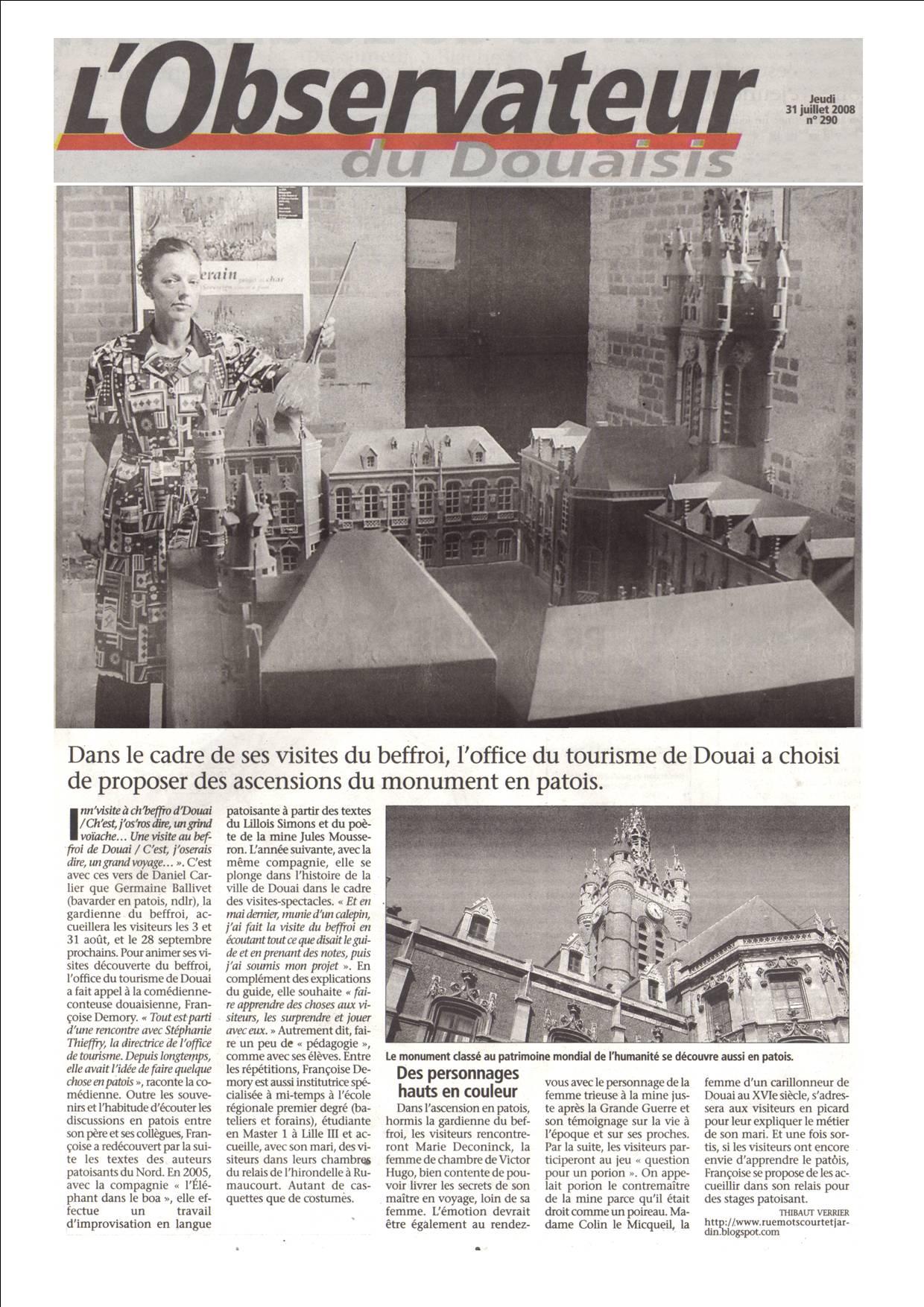 article visite beffroi 2008 observateur douaisis